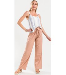women's evie paperbag front tie pants in blush by francesca's - size: 3x