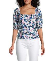 bcbgmaxazria women's floral puff-sleeve blouse - floral multi - size s