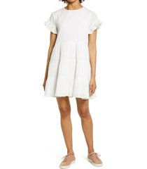 women's rachel parcell tiered ruffle cotton babydoll dress, size large - ivory