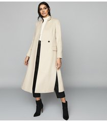 reiss willow - wool blend coat in cream, womens, size 10