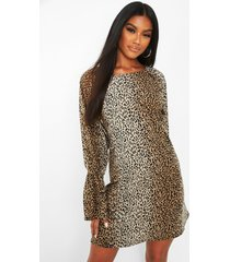 leopard print flared sleeve shift dress, brown