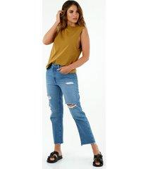 camiseta de mujer, cuello redondo, manga sisa, color amarillo