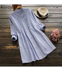 zanzea ocasional de las mujeres más el tamaño de vestido de la camisa de manga larga a rayas vestido de tirantes oficina ol trabajo -azul