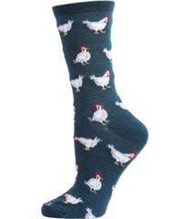 women's chickens bamboo crew socks