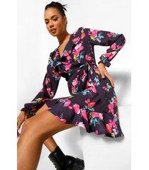 bloemenprint jurk met ruches, black