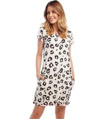 camisão feminino curto com bolso animal print