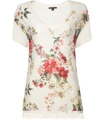 blusa dudalina manga curta decote v estampa flores feminina (off white estampado floral, gg)