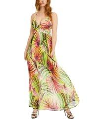 guess emma printed cutout maxi dress