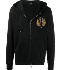 balmain embroidered crest-motif hoodie - black