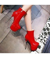 pb200 luxury 16 cm heels booties, patent leather us size 2-10.5, red