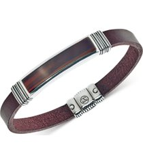 esquire men's jewelry red tiger's eye (45 x 15mm) brown leather bracelet in sterling silver, created for macy's