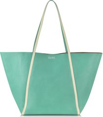 linda farrow designer handbags, pale yellow ayers and green calf leather tote