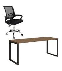 mesa de escritório kappesberg 1.90m com cadeira trevalla tl-cde-26-1