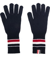 thom browne rwb stripe wool gloves - blue