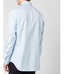 canali men's point collar cotton twill slim fit shirt - light blue - it 43/xxl