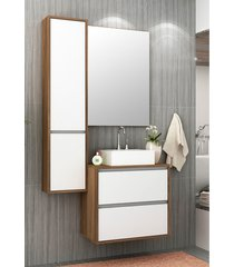 conjunto para banheiro firenze nogal/branco bosi - branco - dafiti