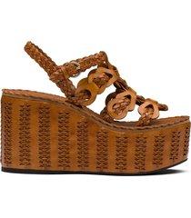 prada braided wedge sandals - brown