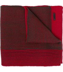 boss hugo boss ribbed knit virgin wool scarf - red