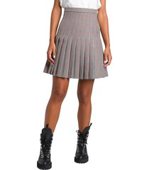 off-white pleated mini skirt with check pattern
