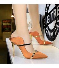 mujer taco zapatos sandalias de tacon fashion-cool-naranja