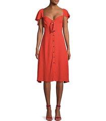 flutter-sleeve button-front dress