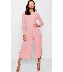 knot front culotte jumpsuit, blush