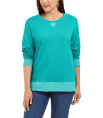 karen scott sport contrast-hem sweatshirt, created for macy's