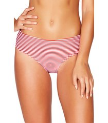 women's sea level sorrento stripe bikini bottoms, size 14 us - red