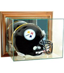 full size football helmet wall mounted glass display case with walnut frame