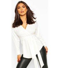 blouse in wikkelstijl met lange mouwen en sluiting taille, ivoor