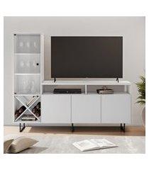 rack para tv até 56 pol jcm movelaria luz com cristaleira branco