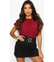 woven frill sleeve & neck blouse, berry
