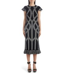 women's alexander mcqueen jacquard ruffle hem midi dress, size x-small - black