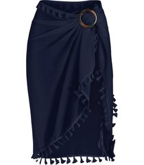 tassel see thru wrap sarong cover up skirt