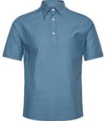 slim fit blue pique shirt polos short-sleeved blauw eton
