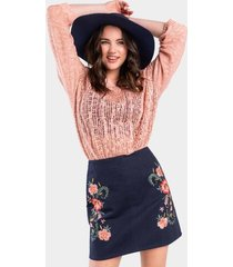 quinley embroidered mini skirt - navy