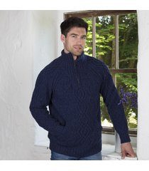 mens kangaroo pocket aran sweater navy small