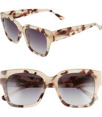 women's diff bella ii 53mm gradient square sunglasses - cream tortoise/ grey gradient