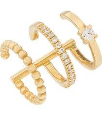 kimai 18kt yellow gold trio diamond ear cuff