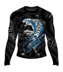rash guard venum alpine tiger preto e azul .