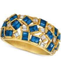 le vian baguette frenzy sapphire (1-3/4 ct. t.w.) & diamond (1/5 ct. t.w.) ring in 14k gold