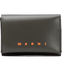 marni two-tone logo print wallet - green