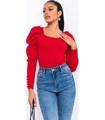 akira one more time puff sleeve sweater knit bodysuit