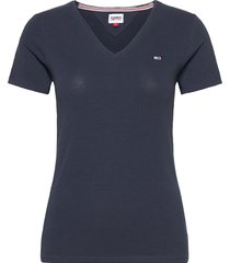 tjw skinny stretch v neck t-shirts & tops short-sleeved blå tommy jeans