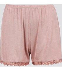 pyjamasshorts med spetskant - ljusrosa