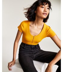 bar iii button front bodysuit, created for macy's