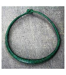 braided leather necklace, 'mpusia' (ghana)