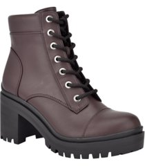 nine west women's quenton lace-up lug sole heeled combat booties women's shoes
