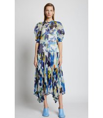 proenza schouler watercolor floral chiffon dress bluemulti 8