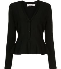 dvf diane von furstenberg flared button-up cardigan - black